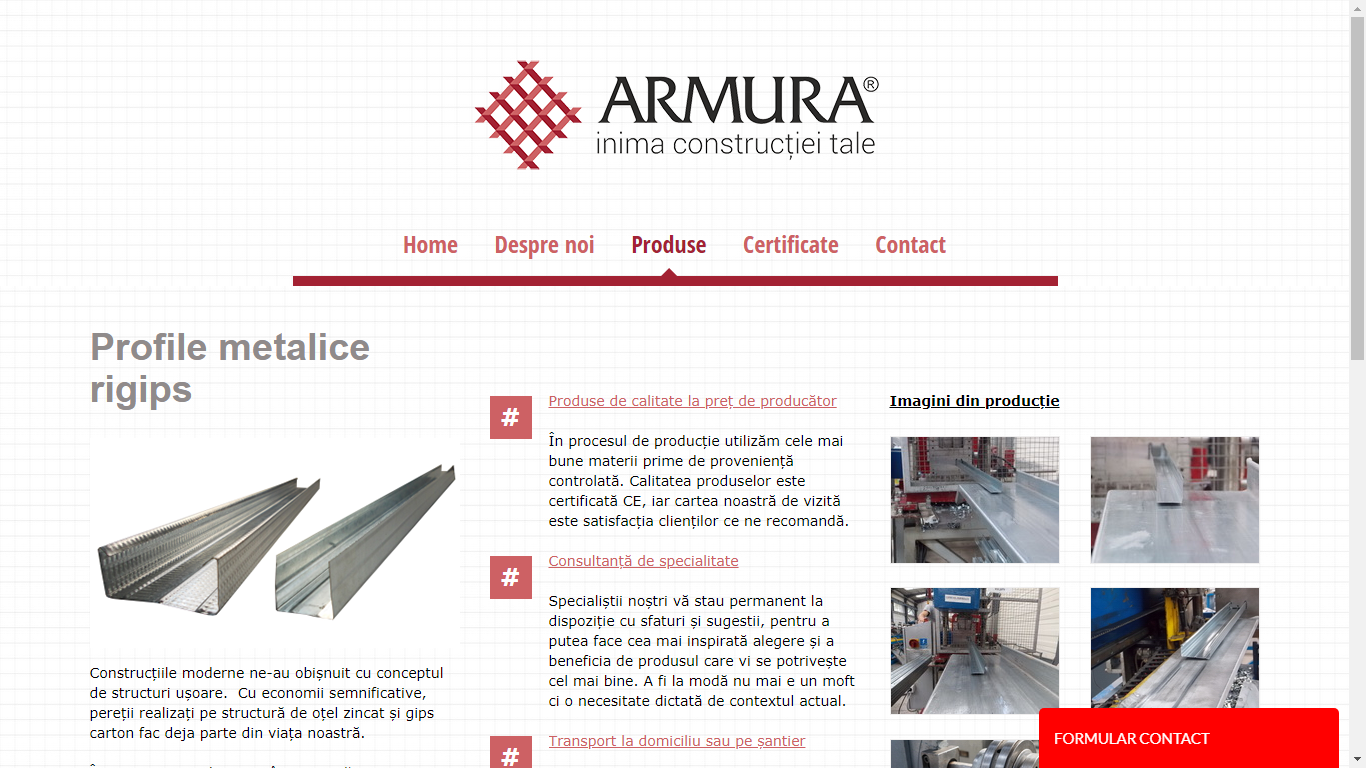armura producator profile metalice rigips
